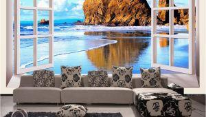 Custom Printed Wall Murals Custom Wallpaper 3d Stereoscopic Window Beach Scenery Living Room Tv Background Wall Mural Print Wallpaper Papel Pintado