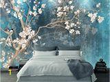 Custom Wall Mural Decal Blue Color Magnolia Flowers Wallpaper Wall Murals