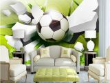 Custom Wall Mural From Photo Custom Wall Mural Wallpaper Modern 3d Stereoscopic Football Broken