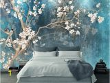 Custom Wall Mural Stickers Blue Color Magnolia Flowers Wallpaper Wall Murals