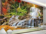 Custom Wall Murals Canada Custom Wallpaper Murals 3d Hd forest Rock Waterfall Graphy