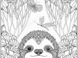 Cute Animal Coloring Pages for Adults Cute Sloth In forest Coloring Page for Adults