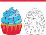 Cute Cupcake Coloring Pages Coloring Page with Cupcake Stock Vector Illustration Of