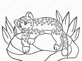 Cute Little Baby Animal Coloring Pages Coloring Pages Little Cute Baby Jaguar On the Stone — Stock Vector