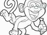 Cute Monkey Coloring Pages Cute Monkey and Banana Cartoon Coloring Pages
