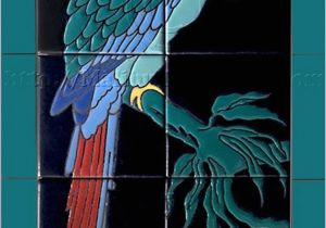 Decorative Wall Tiles Murals Decorative Tile Mural Single Green Parrot Catalina Style