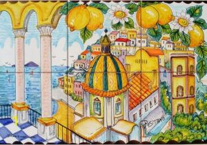 Decorative Wall Tiles Murals Hand Painted Tile Mural – Positano Italy – Arches and Lemons