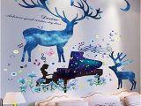 Deer Wall Mural Decals Amazon Iwallsticker 85×82 Blue Deer Wall Stickers with