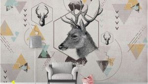 Deer Wildlife Wall Mural K Geometric Deer Removable Wallpaper Triangle