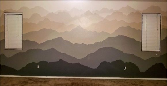 Desert Scene Wall Mural Hand Painted Wall Mural Of Gra Nt Mountain Ranges Done In