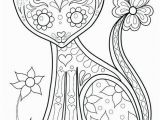 Dia De Muertos Coloring Pages Day the Dead Coloring Book Cat by Dia De Los Muertos