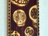 Dia Wall Murals Day Of the Dead Sugar Skulls Wood Burned Wall by Artholomew $300 00