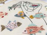 Dia Wall Murals Girl with Colorful Fish 17cm Diameter Hand Embroidery Hoop Art Wall