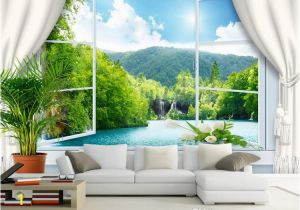 Difference Between Wallpaper and Wall Mural Custom Wall Mural Wallpaper 3d Stereoscopic Window Landscape