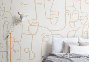 Digital Printing Wall Murals Nude Line Drawing Face Wallpaper Mural