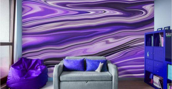 Digital Printing Wall Murals Purple Waves Abstract Art Digital Fluid Artwork Peel and