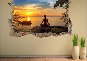 Digital Printing Wall Murals Yoga Meditation Sunset Silhouette Wall Decal Sticker Mural Poster Print Art Home Fice Decor Dh24