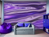 Digital Wall Murals Wallpaper Purple Waves Abstract Art Digital Fluid Artwork Peel and