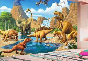 Dinosaur Murals Bedroom Custom 3d Mural Wallpaper Lakefront Dinosaur Tyrannosaurus Rex