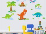 Dinosaur Wall Mural Stencils Lovely Dinosaur Paradise Wall Art Decal Sticker Decor for Kid S Nursery Room Home Decorative Murals Posters Wallpaper Stickers