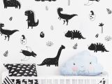 Dinosaur Wall Mural Stencils Personalized Name Vinyl Wall Decals Cute Little Dinosaur Art