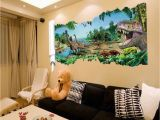 Dinosaur Wall Murals Large 3d Dinosaurs Through the Wall Stickers Home Decoration Diy Cartoon