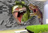 Dinosaurs Murals Walls Papel De Parede 3d Stereo Cartoon Dinosaur Broken Wall Mural