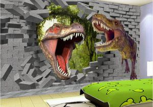 Dinosaurs Murals Walls Papel De Parede 3d Stereo Cartoon Dinosaur Broken Wall Mural