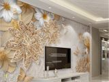 Discount Wallpaper Murals Jewelry Flower butterfly Mural Wallpaper Modern Bedroom