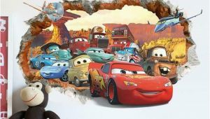 Disney Cars 2 Wall Mural Pixar Cars 2 3 Sticker Lightning Mcqueen Mater Pvc
