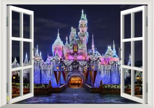 Disney Castle Mural Wallpaper 3d Ancient Princess Castle Window View Decal Wall Sticker Home Decor