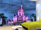 Disney Castle Mural Wallpaper Hd Fantasy Starry Sky Castle 3d Wallpaper Children S Room Restaurant