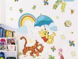 Disney Fairy Wall Mural Cartoon Winnie Pooh Animals Wall Decals Kids Rooms Nursery Home Decor 40 60cm Disney Wall Stickers Pvc Mural Art Diy Wallpaper