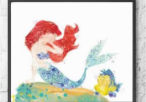 Disney Painted Wall Murals Ariel Watercolor Print Disney Painting Little Mermaid Art
