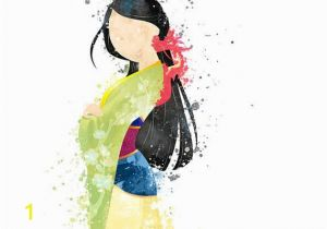 Disney Painted Wall Murals Mulan Illustration Watercolor Art Poster Print Wall Decor