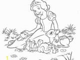 Disney Princess Black and White Coloring Pages Snow and Animal Friends