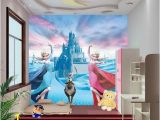 Disney Princess Wall Mural Stickers Custom 3d Elsa Frozen Cartoon Wallpaper for Walls Kids Room
