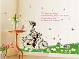 Disney Tinkerbell Wall Mural Bicycle Girl Fashion Personality Cute Diy Vinyl Wall Stickers Decorative Wall Decals Girl S Room Nursery Bedroom Decor Mural Home Decoration Style 7