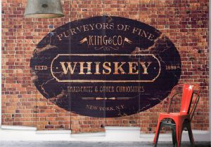 Distressed Brick Wall Mural King & Co Whiskey Wall Mural From Wallpaper Republic Size Small