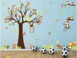 Diy Photo Wall Mural Cartoon forest Animal Monkey Owls Hedgehog Tree Swing Nursery Wall Stickers Wall Murals Diy Posters Viny Removable Art Wall S for Kids Room