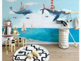 Diy Watercolor Wall Mural Papel De Parede 3d Wallpapers Custom Mural Wall Paper nordic Creative Watercolor Mediterranean Ocean Whale Children S Room Background High