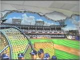 Dodger Stadium Wall Mural Hand Painted Wall Mural Ebbets Baseball Field by Muralist Bonnie