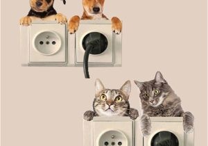 Dog Murals for Wall 3d Wall Stickers Decorative Switch Stickers Animal Wall Pvc Diy