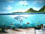 Dolphin Paradise Wall Mural Half Land Half Underwater Amazing