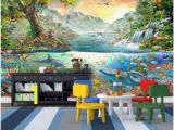 Dolphin Paradise Wall Mural Wdbh 3d Wallpaper Custom Photo Colorful Ocean Dolphin Land Tiger forest Paradise Children Room Decor 3d Wall Murals Wallpaper for Walls 3 D