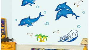 Dolphin Wall Mural Decals Amazon Removable Luminous Wall Sticker Blue Dolphin