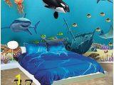 Dolphin Wall Mural Decals Ocean Mural Underwater Sea Wall Mural for Kids Room Walls