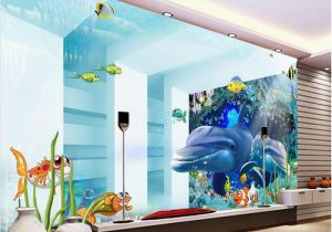Dolphin Wall Murals for Bedrooms 3d Room Wallpaper Custom Mural Space Underwater World Dolphin