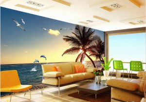 Dolphin Wall Murals for Bedrooms 3d Wallpaper Custom Seaside Coco Dolphins Landscape Tv