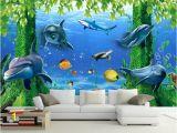 Dolphin Wall Murals for Bedrooms 3d Wallpaper Tv Background 3d Ocean Wallpaper Mural Window Rose Home